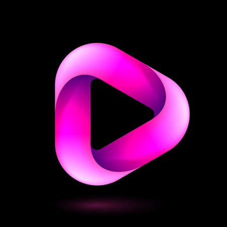Media Play Icon for Technology Design with Pink Style Concept. Template Digital symbol Company with Player Concept. Movie Icon for Business, Play icon with Rounded Corners