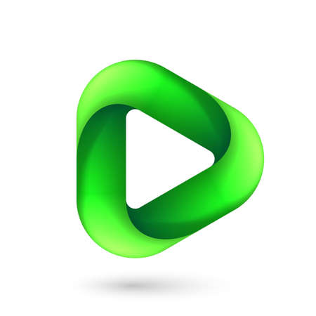 Media Play Icon for Technology Design with Green Style Concept. Ilustração