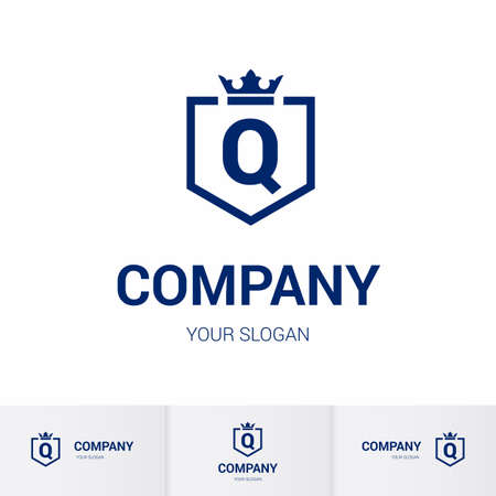 Illustration of Shield Badge-Shape with letter Q in the Middle and Luxury Crown. Logo Icon Template for Web and Business Card, Letter Logo Template on White Background