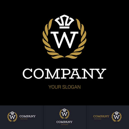 Illustration of Luxury Vintage Crest Logo with letter W in the Middle and Luxury Crown. Calligraphic Royal Emblems and Elements Logo Icon Template on Black Background