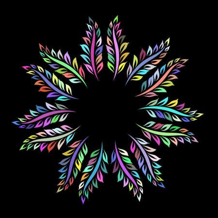 Colored Ornamental Round Frame, Wreath Leaves Decorative Design, Abstract Floral Indigo Ornament Border on Black Background