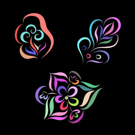 Elegant Decorative Hand Sketched Colored Flowers on Black, Design Elements. Zen Doodle Decorative Flowers. Suitable for Ads, Signboards, Identity on Blackboard
