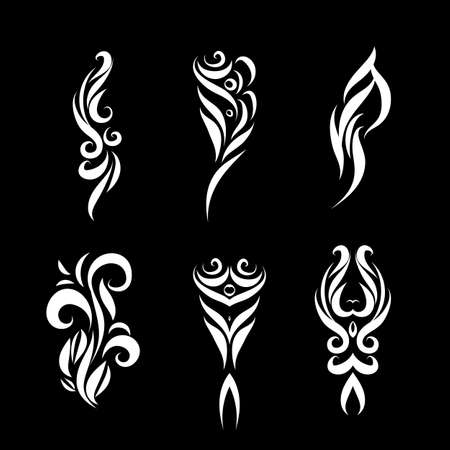Set of Tattoo Tribal Design. Simple Template. Individual Designer Isolated Element for Decorating the Body of Women, Men and Girls Arm, Leg and Other Body Parts on Black