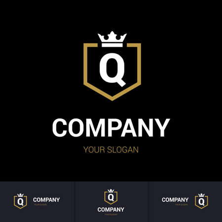 Illustration of Shield Badge-Shape with letter Q in the Middle and Luxury Crown. Logo Icon Template for Web and Business Card, Letter Logo Template on Black Background