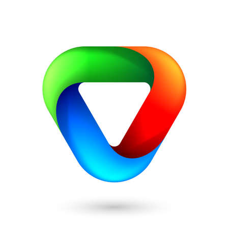 Abstract Infinite Impossible Loop Triangle . Corporate Icon Logotype. Creative Square Infinity Color Concept. Logic Puzzle. Infinite Triangular Ring on White