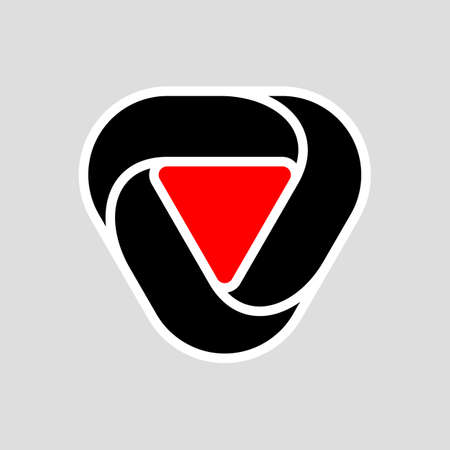 Abstract Infinite Impossible Loop Flat Triangle . Corporate Icon. Creative Square Infinity Black and Red Concept. Logic Puzzle. Infinite Triangular Ring on Gray Иллюстрация