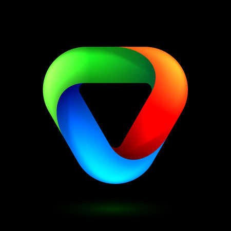 Abstract Infinite Impossible Loop Triangle. Corporate Icon. Creative Square Infinity Color Concept. Logic Puzzle. Infinite Triangular Ring on Black