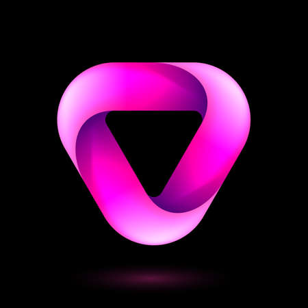 Abstract Infinite Impossible Loop Triangle. Corporate Icon. Creative Square Infinity Pink Concept. Logic Puzzle. Infinite Triangular Ring on Black