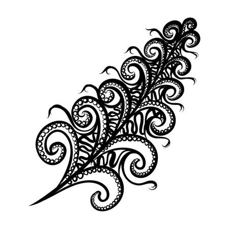 Beautiful Hand Drawn Sketch of Feather in Monochrome Decorative Feather. Floral Motifs, Indian, Turkish Design Element on White Background