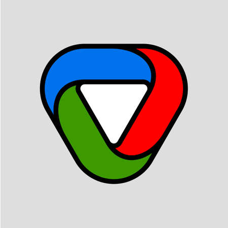 Abstract Infinite Impossible Loop Flat Triangle. Corporate Icon Logotype. Creative Square Infinity Color Concept. Logic Puzzle. Infinite Triangular Ring on Gray
