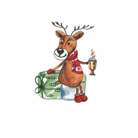 Funny Christmas Reindeer in Red Scarf Holding a Coffee Mug and Gift Boxes, Cartoon Watercolor Illustration Isolated on White Background. Holiday decoration Element Фото со стока
