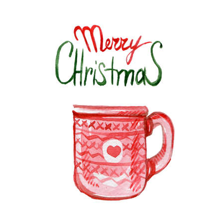 Hand Drawn Cup of Hot Cocoa or Coffee, with Merry Christmas Lettering on White Background. Can be Used for Greeting Cards, Posters or Party Invitations