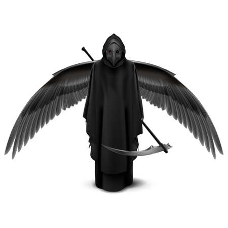 Plague Doctor with Two Wings and a Scythe in His Hands. Medieval Death Symbol Plague Doctor Mask Isolated on White Background for Web, Poster, Info Graphic 向量圖像