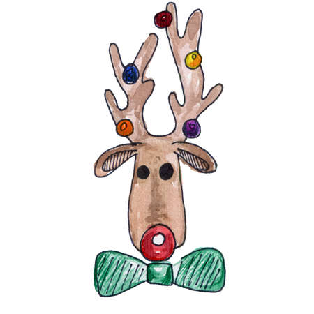 Funny Christmas Reindeer Head with Baubles on his Antlers. Watercolor Illustration Isolated on White Background. Holiday Decoration Element Фото со стока