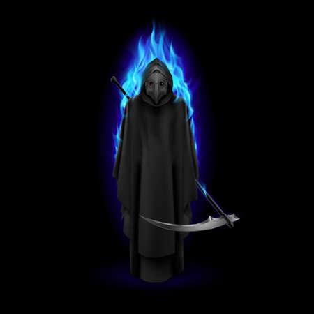 Pest-Doktor in blauer Flamme auf schwarzem Hintergrund. Mittelalterliche Todessymbol Pest Arzt Maske für Web, Poster, Infografik Vektorgrafik