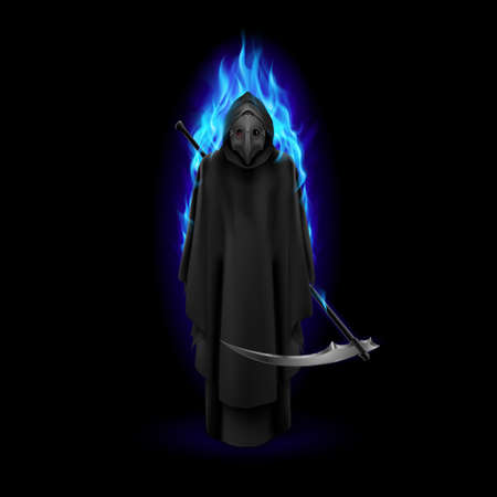 Plague Doctor in Blue Flame Over Black Background. Medieval Death Symbol Plague Doctor Mask for Web, Poster, Info Graphic