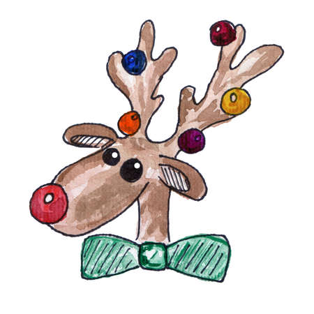 Christmas Reindeer Head with Baubles on his Antlers. Watercolor Illustration Isolated on White Background. Holiday decoration Element