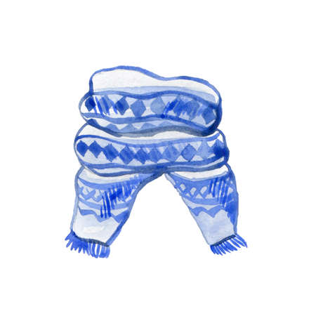 Christmas Watercolor Illustration. Hand Drawing Blue Scarf. Template for Christmas Winter Theme Design