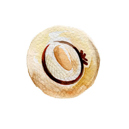 Watercolor Straw Hat Tied with a Brown Ribbon. Object on a White Backdrop, for the Design of Compositions on the Theme of Summer Sunny Vacations and Holidays on the Coast of a Sea 写真素材 - 129682471