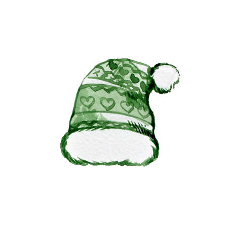 Knitted Green Pom Hat with Bubo. Hand Drawn Watercolor Graphic Painting on White Backdrop