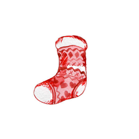 Christmas Stocking. Isolated Watercolor Icon on White Background. Traditional New Year Symbol of Hanging Christmas Stocking for Santa Gifts Banco de Imagens