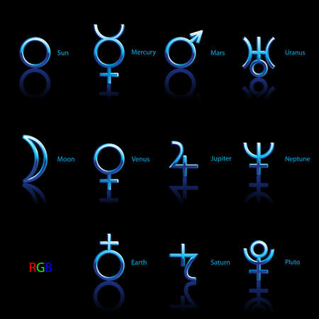 Collection of Astrological Planets Symbols on a Black Background. Signs Collection: Sun Earth Moon Saturn Uranus Neptune Jupiter Venus Mars Pluto Mercury Illusztráció