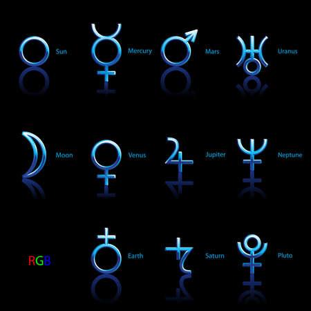 Collection of Astrological Planets Symbols on a Black Background. Signs Collection: Sun Earth Moon Saturn Uranus Neptune Jupiter Venus Mars Pluto Mercury Illustration