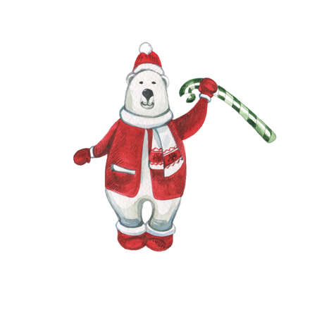 Cute Hand Draw Christmas and New Year Greeting Card with Polar Bear in Santa Claus Outfit. Watercolor Hand Drawn Graphic Painting on White Backdrop Zdjęcie Seryjne