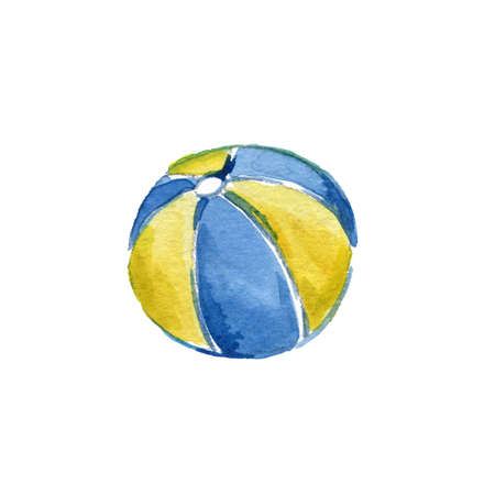 Watercolor Blue and Yellow Beach Ball on a White Background. For Design Compositions on the Theme of Summer Holidays, Sea or Near the Pool