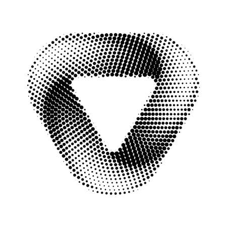 Abstract Infinite Impossible Loop Triangle. Corporate Icon. Creative Square Infinity Dotted Black and White Concept. Logic Puzzle. Infinite Triangular Ring on White