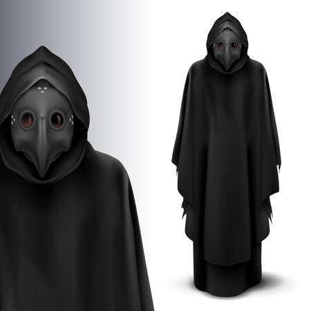 Two Black Figures of Plague Doctors. Medieval Death Symbol Plague Doctor Mask Isolated on White Background for Web, Poster, Info Graphic 向量圖像
