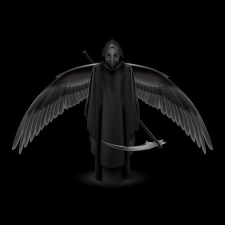 Plague Doctor with Huge Wings Over Black Background. Medieval Death Symbol Plague Doctor Mask Isolated on Black Background for Web, Poster, Info Graphic