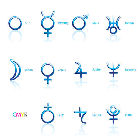Collection of Astrological Planets Symbols on a White Backdrop. Signs Collection: Sun Earth Moon Saturn Uranus Neptune Jupiter Venus Mars Pluto Mercury