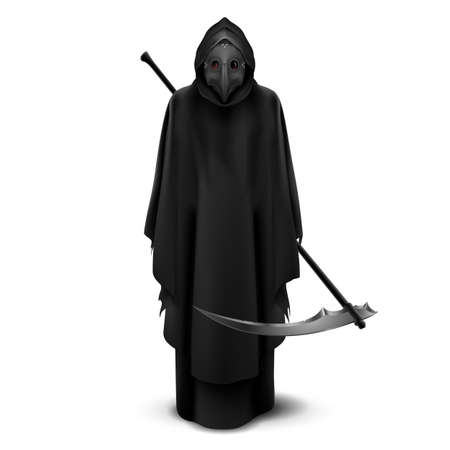 Plague Doctor with Bird Mask and Scythe in His Hands. Medieval Death Symbol Plague Doctor Mask Isolated on White Background. For Web, Poster, Info Graphic 向量圖像