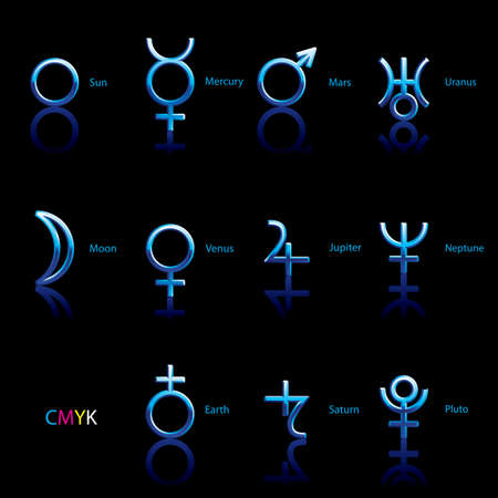 Collection of Astrological Planets Symbols on a Black Backdrop. Signs Collection: Sun Earth Moon Saturn Uranus Neptune Jupiter Venus Mars Pluto Mercury Illustration
