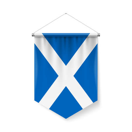 Vertical Pennant Flag of Scotland as Icon on White with Shadow Effects. Patriotic Sign in Official Color and Flower, Scottish Flag with Metallic Poles Hanging on the Rope