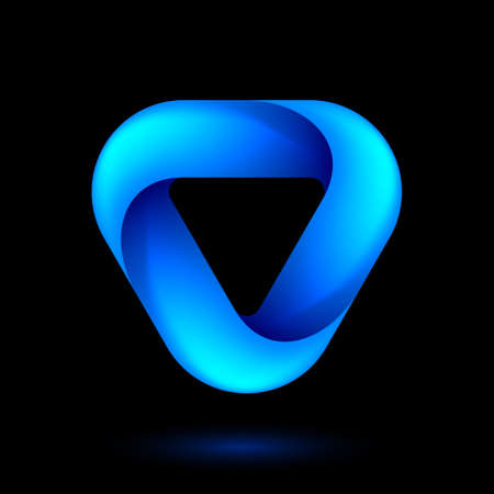 Abstract Infinite Impossible Loop Triangle. Corporate Icon. Creative Square Infinity Blue Concept. Logic Puzzle. Infinite Triangular Ring on Black