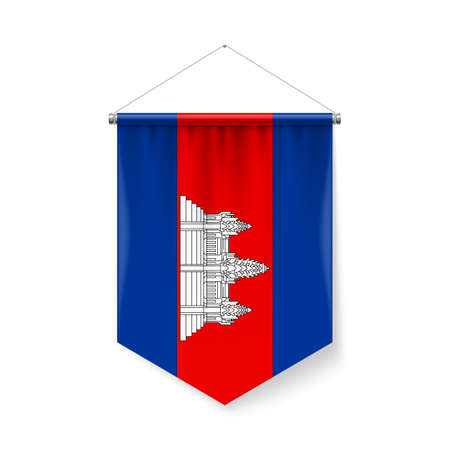 Vertical Pennant Flag of Cambodia as Icon on White with Shadow Effects. Patriotic Sign in Official Color and Flower, Cambodian Flag with Metallic Poles Hanging on the Rope