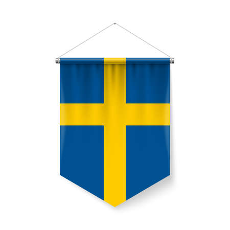 Vertical Pennant Flag of Sweden as Icon on White with Shadow Effects. Patriotic Sign in Official Color and Flower, Swedish Flag with Metallic Poles Hanging on the Rope  イラスト・ベクター素材