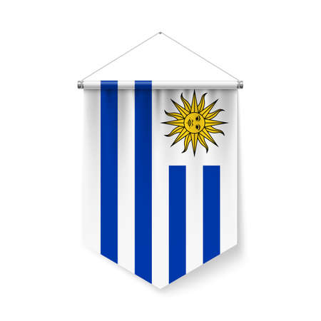 Vertical Pennant Flag of Uruguay as Icon on White with Shadow Effects. Patriotic Sign in Official Color and Flower, Uruguayan Flag with Metallic Poles Hanging on the Rope