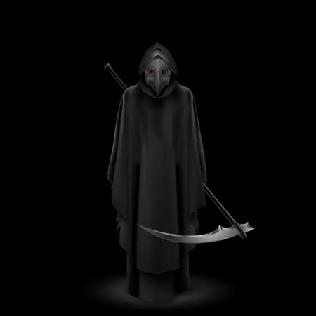 Plague Doctor with Bird Mask and Scythe in His Hands. Medieval Death Symbol Plague Doctor Mask Isolated on Black Background. For Web, Poster, Info Graphic