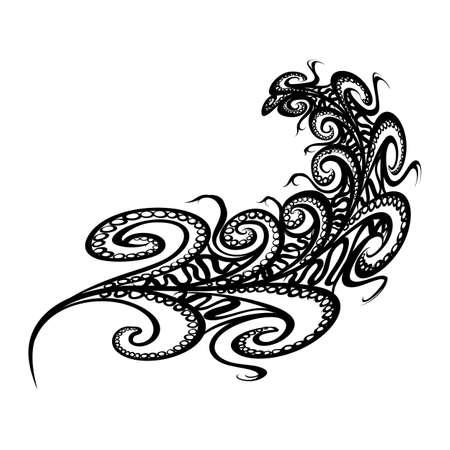 Black Outline Bohemian Boho Bird Feather. Hand drawn Doodles. Sketch Style. Vintage White Feather on White Background