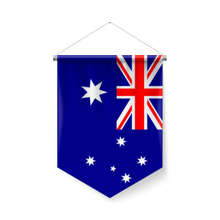 Vertical Pennant Flag of Australia as Icon on White with Shadow Effects. Patriotic Sign in Official Color and Flower, Australian Flag with Metallic Poles Hanging on the Rope Ilustração