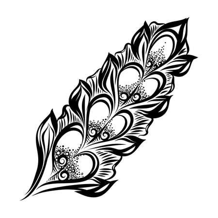 Beautiful Hand Drawn Sketch of Feather. Curly Boho Sketch Isolated on White Background Stock fotó - 129682660