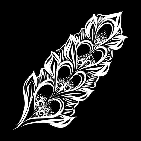 Beautiful Hand Drawn Sketch of Feather. Curly Boho Sketch Isolated on Black Background Stock fotó - 129682659