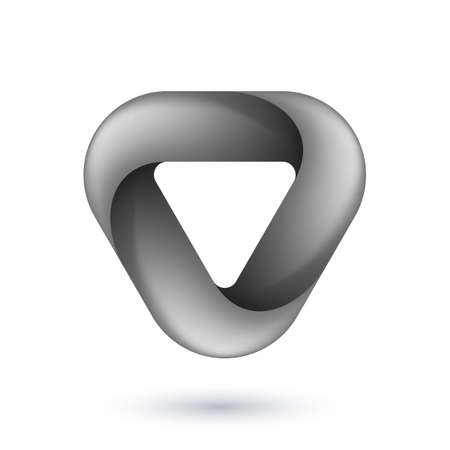 Abstract Infinite Impossible Loop Triangle. Corporate Icon. Creative Square Infinity Black and White Concept. Logic Puzzle. Infinite Triangular Ring on White