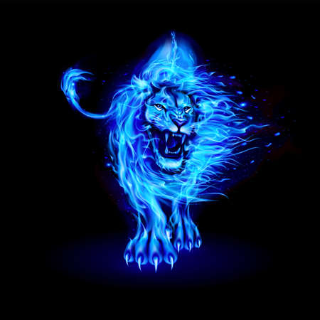 Abstract Illustration of Infuriated Lion with Fire Flames Fur in Blue Color on Black Background