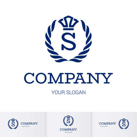 Illustration of Luxury Vintage Crest Logo with letter S in the Middle and Luxury Crown. Calligraphic Royal Emblems and Elements Logo Icon Template on White Background Illusztráció