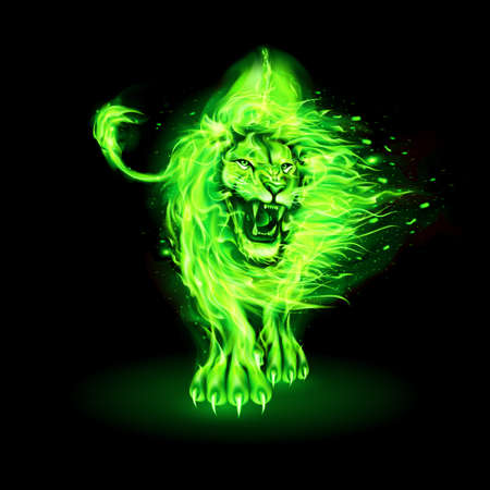 Abstract Illustration of Infuriated Lion with Fire Flames Fur in Green Color on Black Background for Design Ilustracja