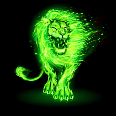 Abstract Illustration of Infuriated Lion with Fire Flames Fur in Green Color on Black Background